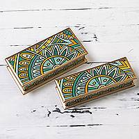 Reverse painted glass boxes, 'Yellow Dawn' (pair) - Peru Green and Yellow Reverse Painted Glass Boxes Set of 2