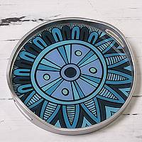 Reverse painted glass tray, 'Blue Inca Emblem' - Blue and Silver Circular Reverse Painted Glass Tray