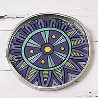 Reverse painted glass tray, 'Purple Inca Emblem' - Circular Andean Purple Reverse Painted Glass Tray
