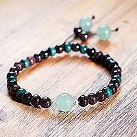 Garnet and aventurine stretch bracelet, 'Amazon Passion' - Handcrafted Andean Garnet and Aventurine Stretch Bracelet
