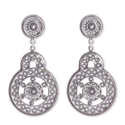 Ornate Peruvian Oxidized Sterling Filigree Earrings