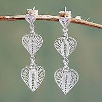 Sterling silver filigree dangle earrings, 'Three Hearts' - Handcrafted Filigree Heart Theme Silver Earrings
