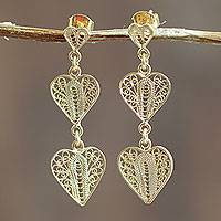 Gold vermeil filigree dangle earrings, 'Three Hearts' - Gold Vermeil Handcrafted Filigree Heart Theme Earrings