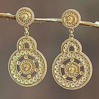 Gold vermeil filigree earrings, 'Love Goes Around' - Andean Gold Vermeil Filigree Earrings Crafted by Hand