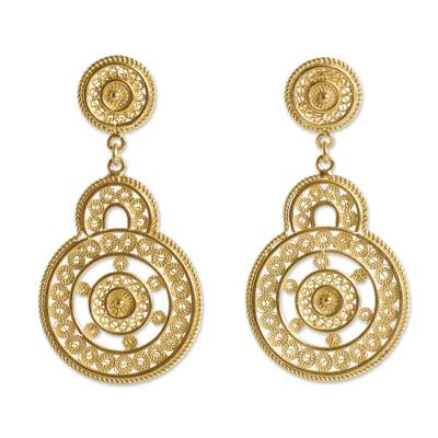 Andean Gold Vermeil Filigree Earrings Crafted by Hand