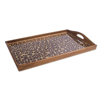 Hand Crafted Tray in Reverse Painted Glass Leopard Print
