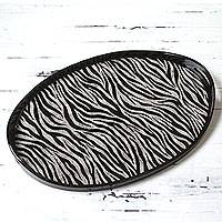 Glass tray, 'Oval Zebra Kingdom' - Zebra Print Oval Tray Reverse Painted Glass and Wood