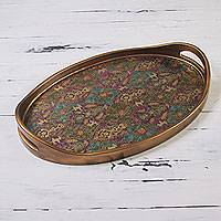 Glass tray, 'Surreal Fantasia' - Wood Tray Reverse Painted Glass with Flowers and Goats