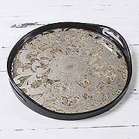 Glass tray, 'Golden Reflection' - Floral Serigraph on Mirror and Wood Round Tray from Peru