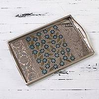 Glass tray, 'Blue Daisies' - Tray with Serigraph Flowers on Mirror and Wood from Peru