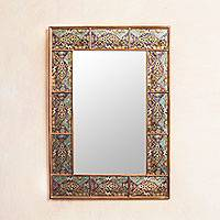 Mirror, 'Surreal Fantasia' - Multicolor Hand Crafted Mirror in Reverse Painted Glass