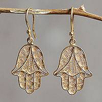 Gold vermeil filigree dangle earrings, 'Hamsa Symbol' - Gold Vermeil Filigree Artisan Crafted Hamsa Symbol Earrings