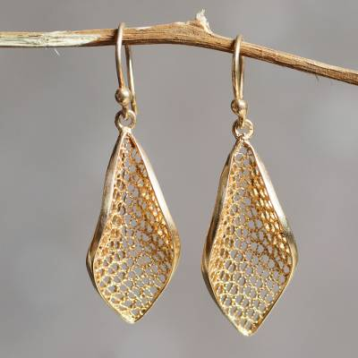 Gold vermeil filigree dangle earrings, 'Emerging' - Handcrafted Filigree Gold Vermeil Earrings