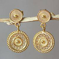Gold plated filigree dangle earrings,