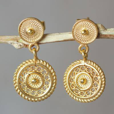 Gold plated filigree dangle earrings, 'Beautiful Fantasy' - Classic Andean Filigree Gold Plated Earrings