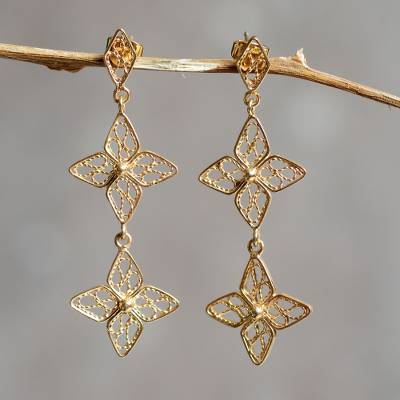 Gold plated filigree flower earrings, 'Floral Duet' - Gold Plated Filigree Flower Earrings Crafted by Hand