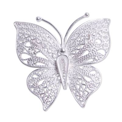 Filigree Butterfly Brooch Pin Handmade in Sterling Silver