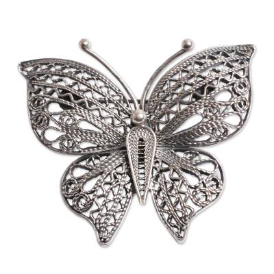Filigree Butterfly Brooch Pin in Aged Sterling Silver