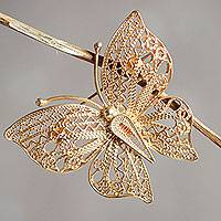 Gold vermeil filigree brooch pin,