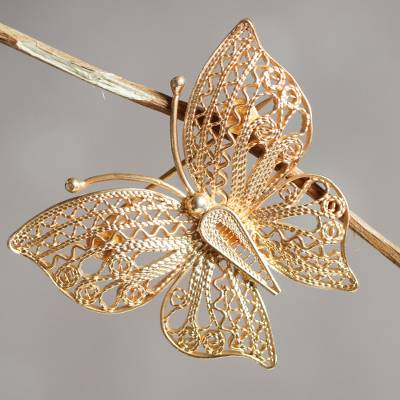 Gold vermeil filigree brooch pin, 'Catacos Butterfly' - Handmade Gold Plated Filigree Butterfly Brooch Pin