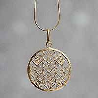 Gold plated filigree pendant necklace, 'Natural Energy' - Filigree Gold Plated Sterling Silver Pendant Necklace