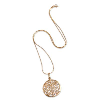 Filigree Gold Plated Sterling Silver Pendant Necklace