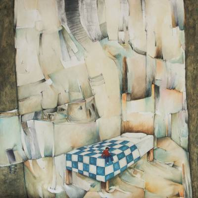 'Seated at the Foot of My Bed' (2014) - Peru Large Scale Surreal Oil on Canvas Painting