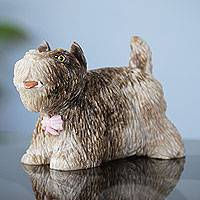 Aragonite statuette, 'Sweet Schnauzer' - Schnauzer Dog Statuette Carved by Hand of Aragonite