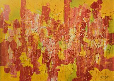 Bold Abstract Expressionist Painting in Citrus Tones