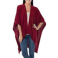 100% alpaca ruana cloak, 'Scarlet Chic' - Knitted Red Baby Alpaca Ruana Cloak from Peru