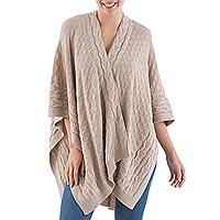 100% alpaca ruana cloak, 'Beige Chic' - Soft Beige Knitted Baby Alpaca Andean Ruana Cloak