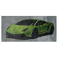 'Green Lamborghini' (2014) - Classic Lamborghini Car Theme Oil Painting