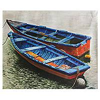 'Blue Boats' (2014) - Peru Realistic Oil on Canvas Painting of Boats