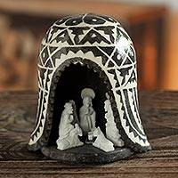 Stone nativity scene, 'A Peruvian Christmas' - Unique Alabaster Stone Nativity Scene in a Chullo Hat