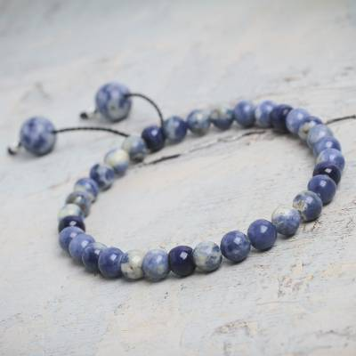 Sodalite stretch bracelet, 'Eternal Sky' - Beaded Sodalite Stretch Bracelet with Silver Accents