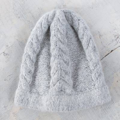 100% alpaca hat, 'Mist' - Soft Grey Hand Knitted Cable Stitch Alpaca Hat