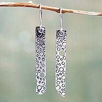 Sterling silver dangle earrings, 'Purposeful Asymmetry' - Fair Trade Sterling Silver Earrings Hand Crafted in Peru