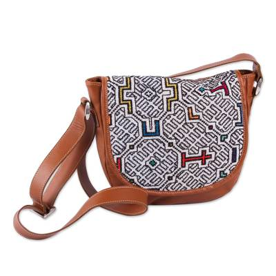 Brown Leather Shoulder Bag with Shiphibo Embroidered Flap