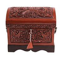 Wood and leather jewelry box, 'Bird Charm' - Handcrafted Tooled Leather jewellery Box with Lock and Key