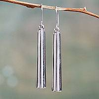 Sterling silver dangle earrings, 'Beaming' - Sterling Silver Earrings Peruvian Artisan Crafted Jewelry