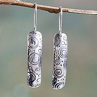 Sterling silver dangle earrings, 'Trance' - Sterling Silver Earrings Slightly Curved and Embossed