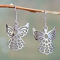 Sterling silver dangle earrings, 'Cajamarca Angels' - Angelic Sterling Silver Earrings in Openwork Jewelry