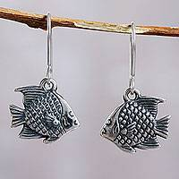 Sterling silver dangle earrings, 'Fish' - Fair Trade Peruvian Jewelry Sterling Silver Fish Earrings