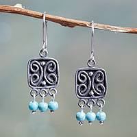 Sterling silver chandelier earrings, 'Butterfly Glyphs' - Square Butterfly Earrings Crafted with Sterling Silver