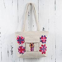Cotton shoulder bag, 'Purple Rose Flowers' - Embroidered Ivory Cotton Bag with Purple and Pink