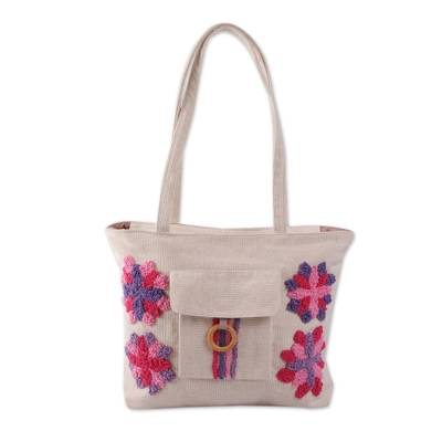 Embroidered Ivory Cotton Bag with Purple and Pink