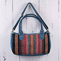Suede accent wool baguette handbag, 'Blueberry Compote' - Peru Handwoven Wool Handbag with Blue Suede