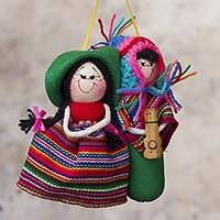 Cotton ornament, 'Charango Serenade' - Hand Crafted Ornament of Andean Couple and Guitar