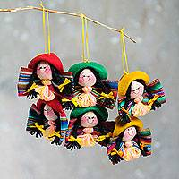 Ornaments, 'Friendly Cholitas' (set of 6) - Hand Crafted Ornaments Traditional Andean Women (Set of 6)