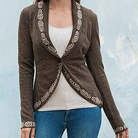 100% alpaca cardigan, 'Earthen Mystique' - Beautiful Knitted Alpaca Cardigan for Women in Nutmeg Brown